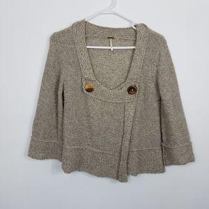 Free People Wool Wrap Cropped Cape Boho Sweater